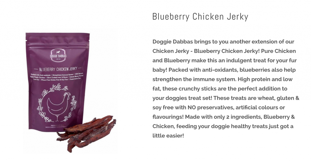 Doggie Dabbas Blueberry Flavor Chicken Jerky